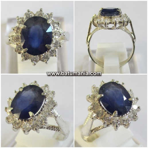 Cincin Batu Permata Natural Fresh Blue Sapphire For Ladies / Women