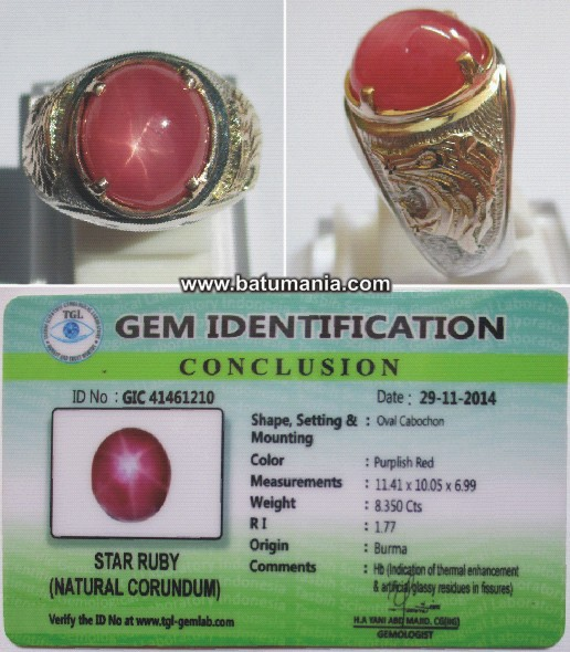 Cincin Batu Ruby Burma Star Natural + Memo