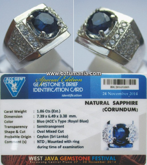 Cincin Batu Natural Royal Blue Safir Ceylon / Srilanka + Memo