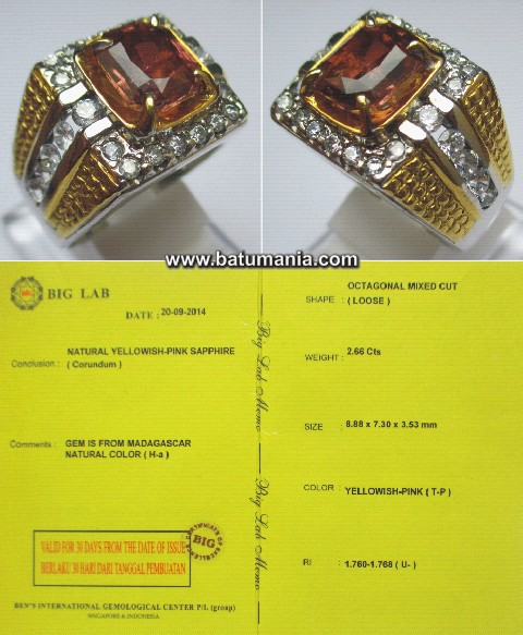 Cincin Natural Yellowish-Pink Safir Madagaskar + Memo