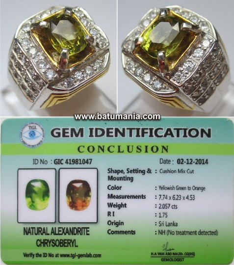 Cincin Batu Permata Natural Alexandrite Chrysoberyl Color Change + Memo