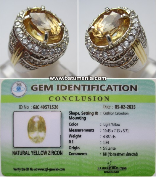 Cincin Batu Yellow Zircon + Memo