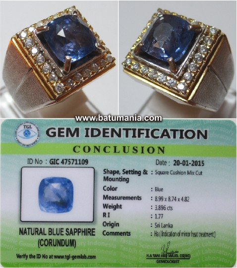 Natural Blue Safir Sri Lanka / Ceylon + Memo