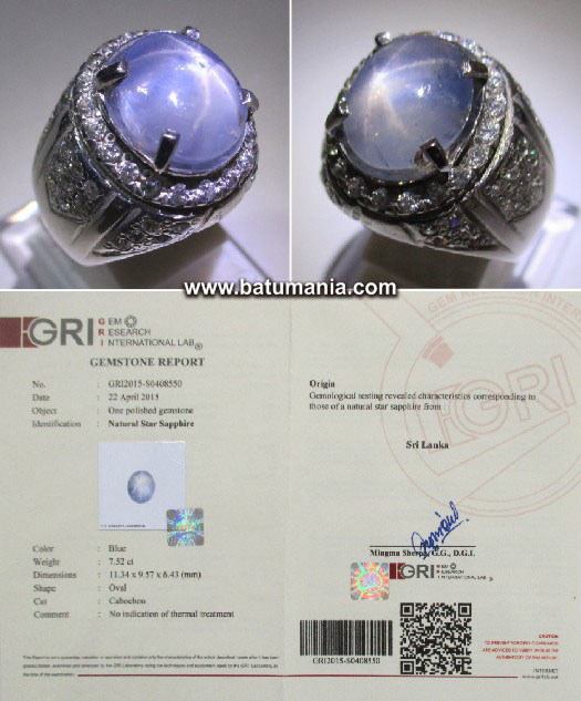Light Blue Star Safir Srilanka 7,52 Carat
