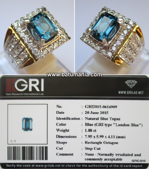 Batu London Blue Topaz Asli