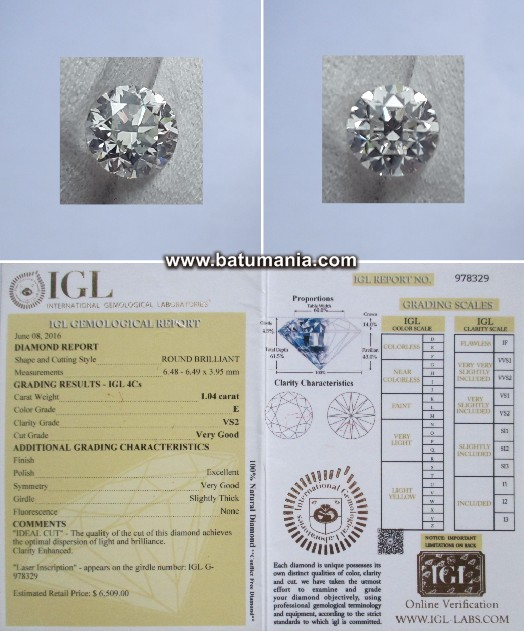E Color Berlian Mess Eropa 1.04 ct