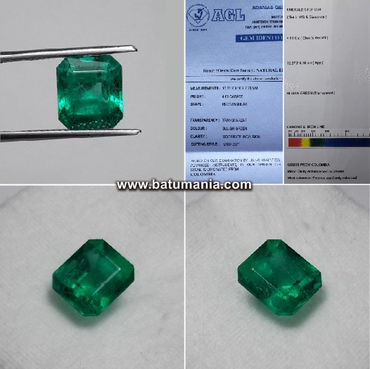 Natural Zamrud Colombia Bluish Green 4.61 cts